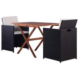 3-TLG.Bistro-Set Sitzgruppe Möbelset Mit 1 Tisch, 2 Stühle und 4 Kissen