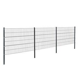 Gartenzaun 6 Meter x 1,2m  Grau Doppelstab Zaun Set Gittermatten Metallzaun