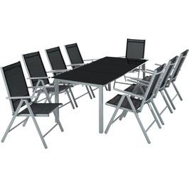 Aluminium Sitzgruppe 8+1 dunkelgrau oder hellgrau