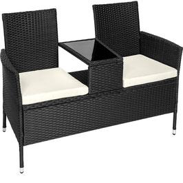 Rattan Gartensitzbank mit Tisch braun oder schwarz