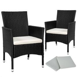 2 Rattanstühle + 4 Sitzbezüge schwarz, braun oder grau