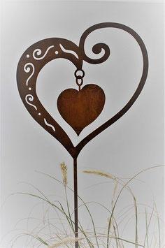 Deko Rost Herz mit Stecker 65 cm