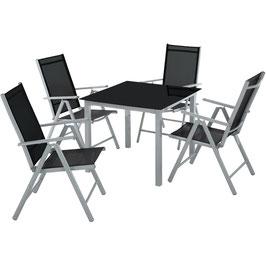 Aluminium Sitzgruppe 4+1 hellgrau oder dunkelgrau
