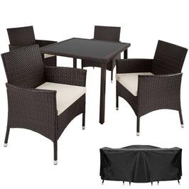 Rattan Sitzgruppe 4+1 mit Schutzhülle braun oder schwarz