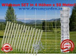 Wildzaun SET - 50 Meter x 4 verschiedene Höhen!