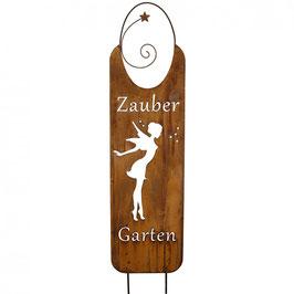 Gratis Versand - Metall Schild 'Zauber Garten' Höhe 150cm, 2 Stäbe