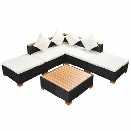Garten-Lounge-Set mit Auflagen Poly Rattan Schwarz