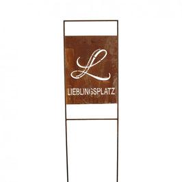 "Gratis VERSAND - Metall Schild ""Lieblings Platz"", Höhe 150cm"