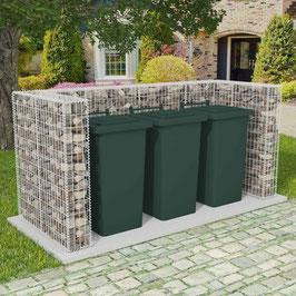 Gabione Mülltonnenbox für 1, 2 oder 3 Tonnen U-förmig Stahl  3 Größen
