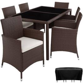 Rattan Sitzgruppe  6+1 mit Schutzhülle braun oder schwarz - dreamtek