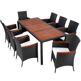 Rattan Sitzgruppe 8+1 schwarz