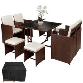 Rattan Sitzgruppe 4+4+1  braun,schwarz oder grau dreamtek2019