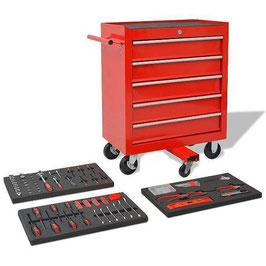 269-tlg. Werkstattwagen gefüllt mit Werkzeugen Werkzeugwagen Stahl Rot