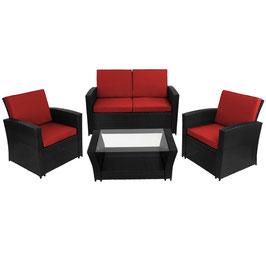 12-teilige Polyrattan Sitzgruppe Garten Lounge inkl. Sitzpolster
