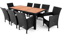 Poly Rattan Gartnen Garnitur 9 teilig Sitzgruppe schwarz oder braun