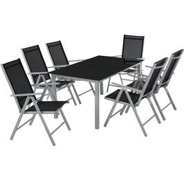 Aluminium Sitzgruppe 6+1 hellgrau oder dunkelgrau