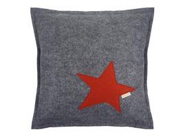 manufra - Filzkissen mit Stern ca. 40 x 40 cm set grau-meliert / bordeaux