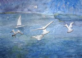 Stettiner Haff, Aquarell, 36x51 cm