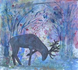 Hirsch im Wald, Wasserfarben, 55x49 cm