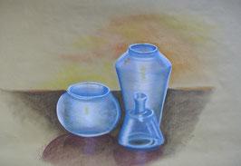 Blaue Vasen, Pastellkreide, 50x70 cm