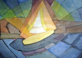 Segelschiff, Aquarell, 36x51 cm