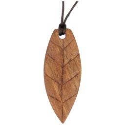 Halskette Blatt aus Walnussholz