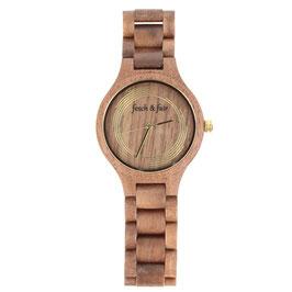Armbanduhr aus Walnussholz mit goldenem Zifferblatt