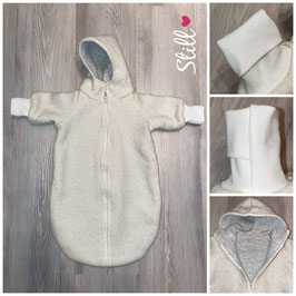 Gefütterter Kinderwagensack aus 100% Schurwolle und Jerseystepp