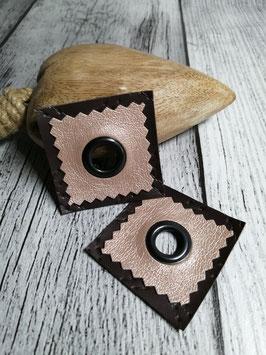 Kunstleder Patches mit 11 mm Öse perl meets braun