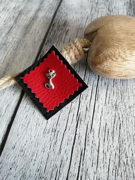 Patch Kunstleder rot meets schwarz mit Katze