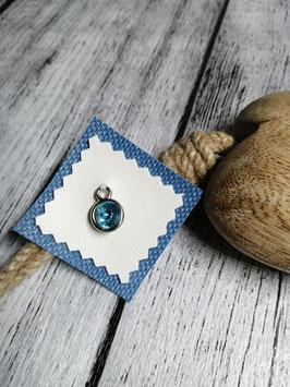Patch Kunstleder weiß meets  blau mit Brilli hellblau