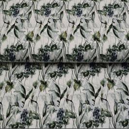 Baumwolljersey Blumen Aquarell weiß/grau