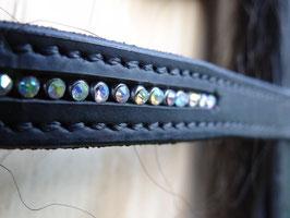 STAR Trensenzaum Diamond mit Zügeln  schwarz mit Strass in 4 Farben