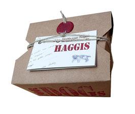 40 Haggis Box 180 g. zum BARF-Konzept passend, die Box ist bioligisch abbaubar