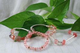 P 101.- Pulseras de cuarzo rosa cereza y plata de ley 925.