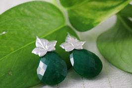 Pe 103.- Pendientes de plata de ley 925 y cuarzo verde.