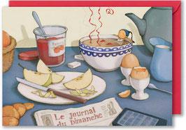 """Carte postale A6 """"Trempette à l'heure du brunch""""."""