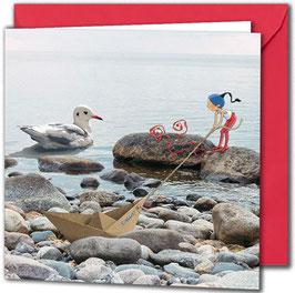 """Carte postale """"La mouette""""."""