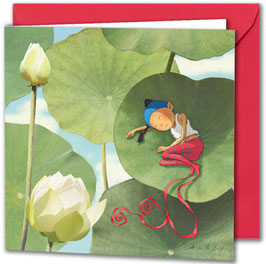 """Carte postale """"À l'ombre du lotus""""."""