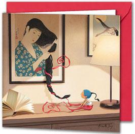 "Carte postale ""La natte""."