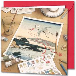 """Carte postale """"Le héron""""."""