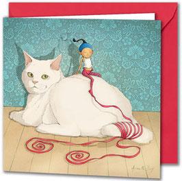 """Carte postale """"Le chat blanc"""""""
