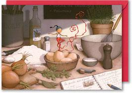 """Carte postale """"La quiche à l'oignon""""."""
