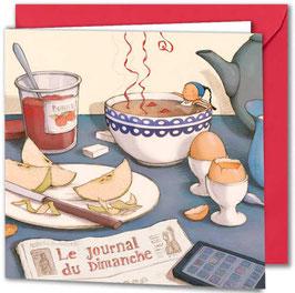 """Carte postale """"Trempette à l'heure du brunch""""."""