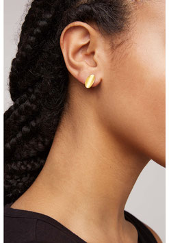 People Tree: Curled Leave stud Earings, brass