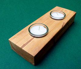 Teelichthalter Leuchter zweiflammig aus Altholz Upcycling
