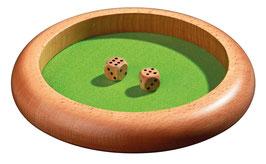 Würfelteller aus Holz 22 cm Durchmesser