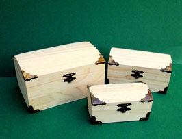 Schatzkisten Natur, 3er-Set, 3 kleine Kästchen aus Holz