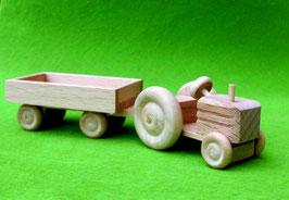 Erzgebirgisches Holzspielzeug Miniatur Traktor mit Anhänger Kasten