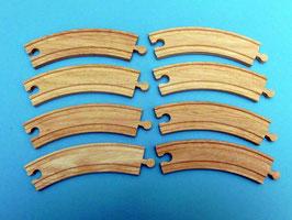 8er-Pack Kurvenschienen 17,5 cm für Holzeisenbahnen